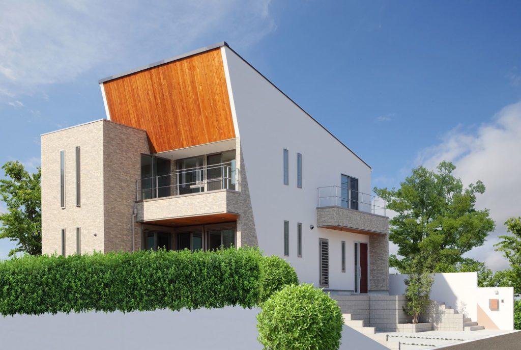 機能性とデザイン性を兼ね備えた斜め壁が特徴の外観